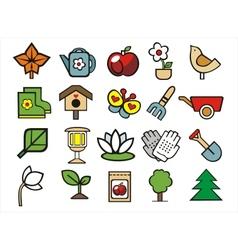Gardening doodle icons set vector