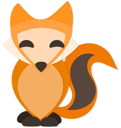 Happy fox with drop shadow vector