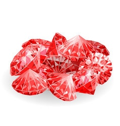 Isolated handful of red rubies vector