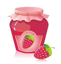 jar of strawberry jam vector image vector image
