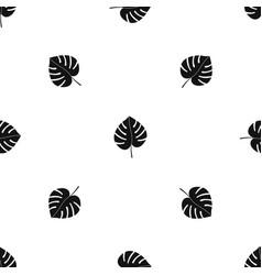 Leaf of monstera pattern seamless black vector
