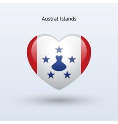 Love Austral Islands symbol Heart flag icon vector image vector image