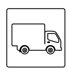 Monochrome contour square frame with truck vector