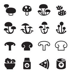 Mushroom icons set vector
