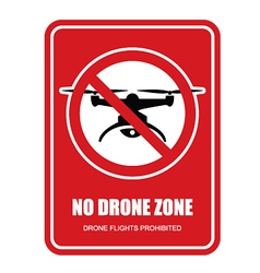 No drone zone restrictive sign - quadcopter vector