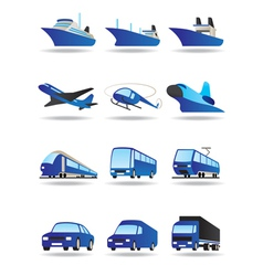 Road sea and space transport icons set vector image vector image