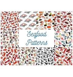 Seafood cuisine seamless patterns vector