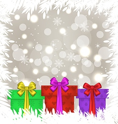 Set Christmas gift boxes on glowing background vector image