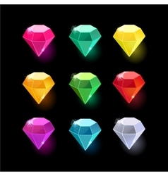 Set of cartoon different color crystals vector image
