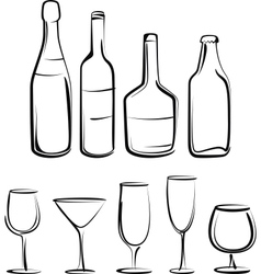 Simple with bottles and glasses set vector image vector image