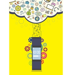 smartwatch wearable technology vector image vector image