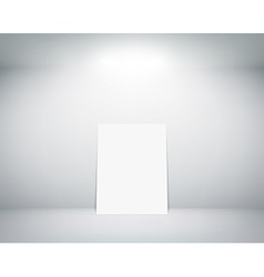 white sheet stands near a wall vector image vector image