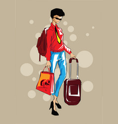 woman casual business woman with carry-on hand lug vector image vector image