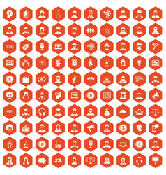 100 headhunter icons hexagon orange vector