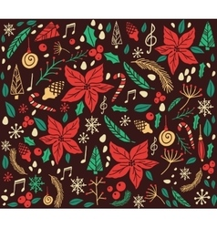 Christmas pattern with fir tree vector image