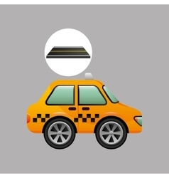 Taxi cab on road design vector