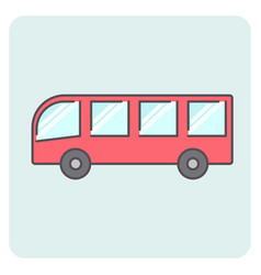 Flat outlone red bus icon vector