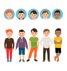 Teenage boy with avatar icons set vector