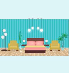 Bright colors elegant bedroom interior with vector