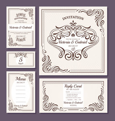 Calligraphic vintage floral wedding cards vector