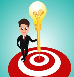 Businessman in target area whit dart lightbulb vector