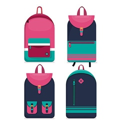 Set of 4 backpacks icons flat style vector