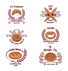 Bakery bread logos vector