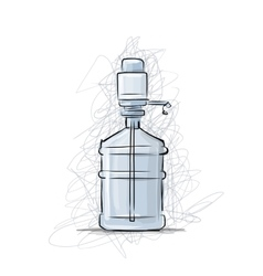 Bottle with distilled water sketch for your vector image