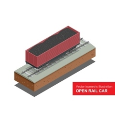 Open rail car for transportation of bulk cargoes vector