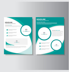 Green brochure flyer leaflet templates layout set vector