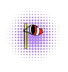 Windsock on golf course icon comics style vector