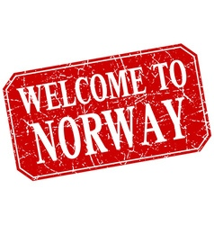Welcome to norway red square grunge stamp vector