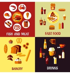 Assorted flat food icons vector image vector image