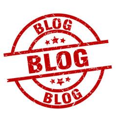 Blog round red grunge stamp vector