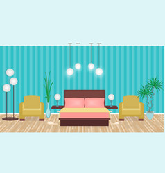 bright colors elegant bedroom interior with vector image