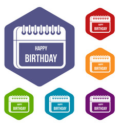 calendar happy birthday icons set vector image