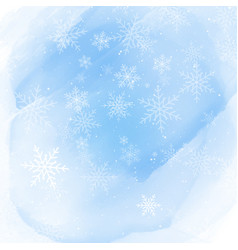 Christmas snowflakes on a watercolour background vector