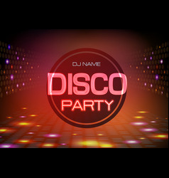disco abstract background neon sign disco party vector image vector image