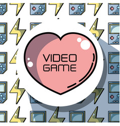 Emblem heart with videogame technology background vector