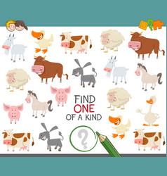 find one of a kind of farm animals vector image