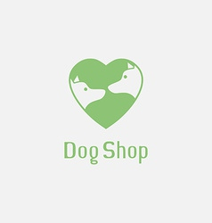 Flat pet shop logo with dogs in love vector