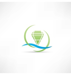 Green diamond icon vector
