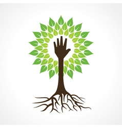 Helping hand make tree vector image vector image