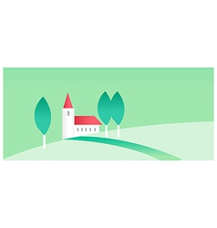 House and green landscape vector image vector image