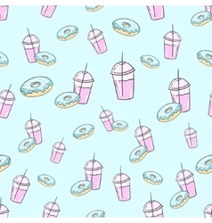 Milkshake and donut seamless pattern vector image