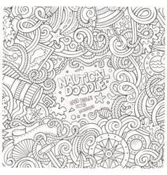 Nautical cartoon hand drawn doodle frame vector