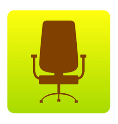 Office chair sign brown icon at green vector