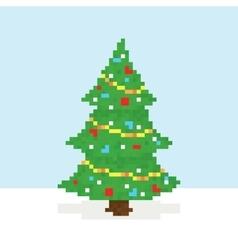 Pixel art christmas tree postcard vector