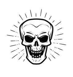Scary human skull jolly roger halloween zombie vector