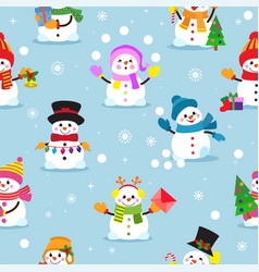 snowman cartoon winter christmas character vector image vector image